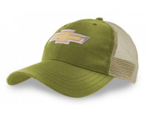 Sage Green Distressed Mesh Hat with Gold Bowtie